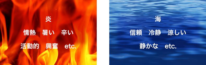 赤は情熱、暑い、辛い、活動的、興奮など 青は信頼、冷静、涼しい、静かな、など
